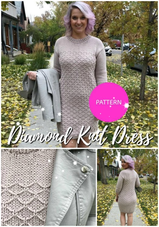 Gorgeous Diamond Knit Dress pattern! Love this sweater dress: perfect project to make for fall! #knitting #knit #pattern #knittingpattern #yarn #crafts #sweaterdress #knitatude #craftevangelist