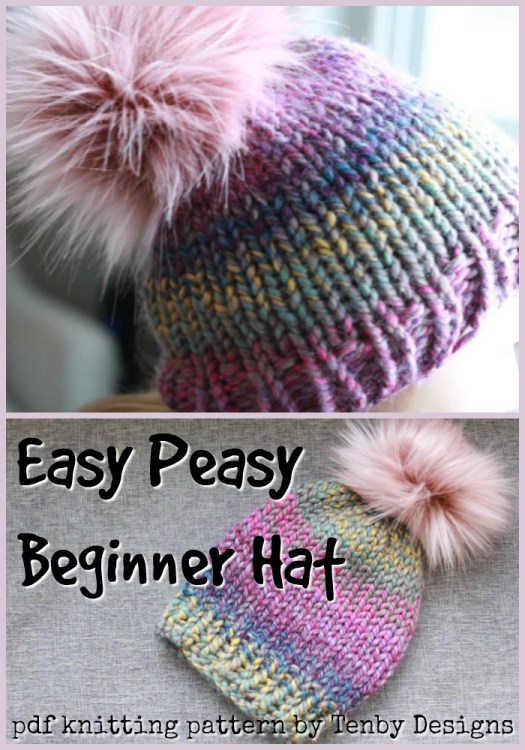 Easy Peasy Beginner knitting pattern beanie. Super easy knit hat pattern to make! Love this simple toque. Perfect pattern for a new knitter! #knittingpattern #beginnerknits #easyknits #easypattern #learntoknit #yarn #crafts #craftevangelist