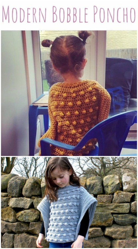 what a cute little bobble poncho crochet pattern for kids! Crochets up quickly and easy to memorize, perfect summer project for travelling to make up for fall! Love this sweet sweater! #crochet #crochetpattern #yarn #crafts #crochetponcho #ponchopattern #pattern #craftevangelist