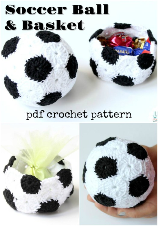 Fun quick soccer ball toy and basket crochet pattern! This would make a great last minute handmade gift idea for a soccer lover! #crochetpattern #soccer #crochet #pattern #pdf #download #yarn #crafts #craftevangelist