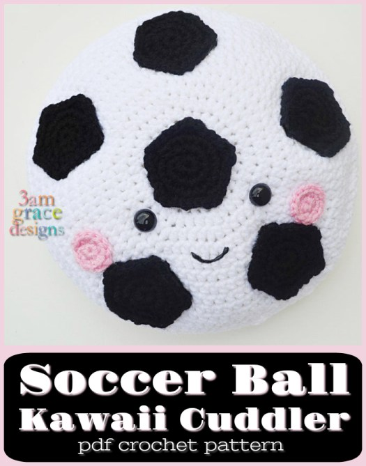 Adorable soccer ball kawaii cuddler! Would make a great little cushion or pillow for the soccer lover! #crochet #pattern #crochetpattern #soccercrochet #amigurumi #yarn #crafts #pillow #crochetpillow #craftevangelist