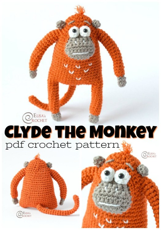 Adorable Clyde the Monkey amigurumi crochet pattern. I love this sweet little monkey stuffed toy pattern! Can't wait to make this for one of the littles! #crochetpattern #amigurumipattern #amigurumi #crochet #pattern #yarn #crafts #craftevangelist