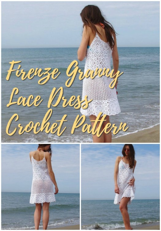 Beautiful beachy summer crochet dress pattern! Love this granny lace pattern! It can also be made as a top! So pretty! #crochetpattern #crochetdress #crochetbeach #beach #beachwear #yarn #crafts #crochet #pattern #crochetforwomen #craftevangelist