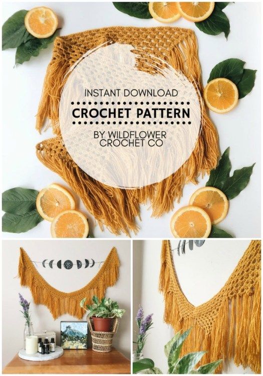 Gorgeous! Love this fresh fringe boho tassel wall hanging! Great crochet pattern for summer! So cute! Perfect for a nursery! #crochetpattern #crochet #pattern #yarn #crafts #crochetdecor #craftevangelist
