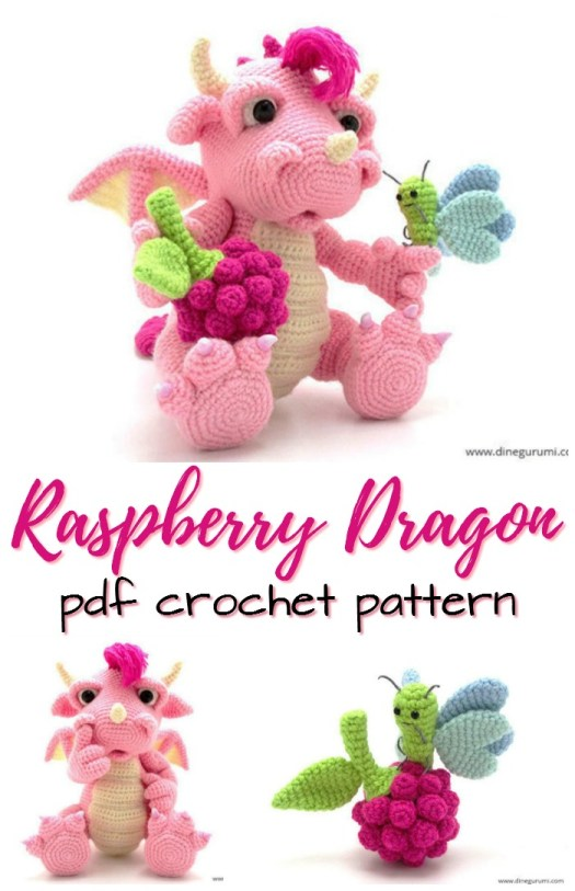 Super cute pink dragon amigurumi crochet pattern! Perfect handmade gift for the dragon loving girl! #crochetpattern #amigurumipattern #crochetedtoys #yarn #crafts #craftevangelist