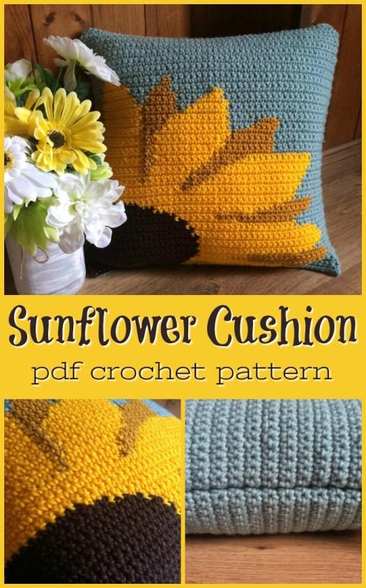 Sunflower pillow cushion cover crochet pattern