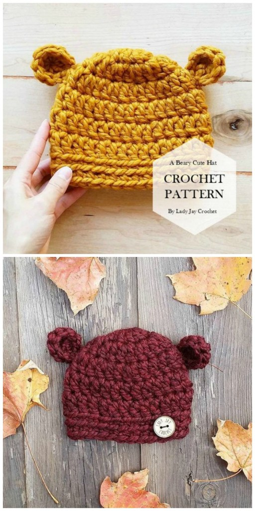 Adorable Crocheted Bear Hat Pattern for baby! I can't wait to make one of these for one of my expecting friends! So cute! Perfect photo prop for baby! #crochetpattern #hatpattern #crochethat #baby #crafts #yarn #craftevangelist