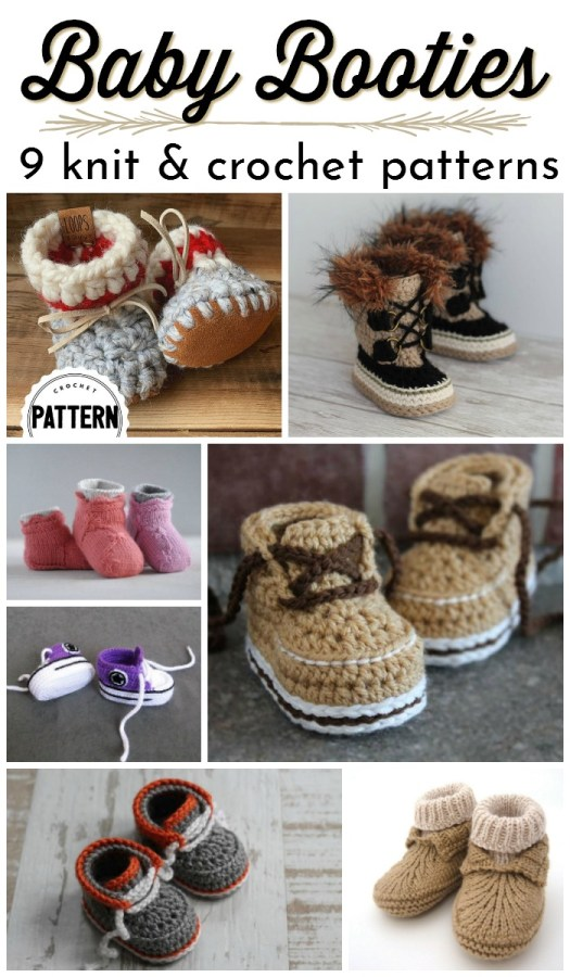 Nine adorable baby booties slipper patterns to knit and crochet. I love these crochet patterns for baby shoes! #babypatterns #crochetpattern #knittingpattern #babyshoes #babyslippers #slipperpatterns #bootiepatterns #crochetbooties #yarn #crafts #crochet #knitting #craftevangelist