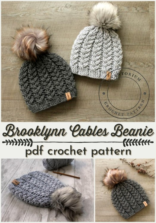 Beautiful Brooklynn Cables CROCHET hat pattern! Love these cables on this gorgeous crocheted hat! And I'm LOVING the faux fur poms right now!!! #crochetpattern #crochet #crochethat #hatpattern #yarn #cables #crafts #crochetcables #craftevangelist
