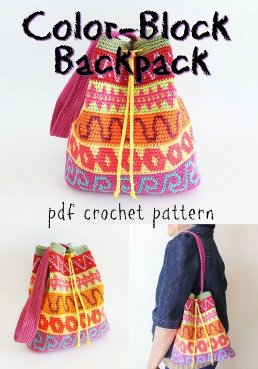 Gorgeous color-block backpack crochet pattern. I love this simple drawstring bag! I love the tapestry color-work! #crochet #pattern #crochetbag #crochetpattern #yarn #crafts #craftevangelist