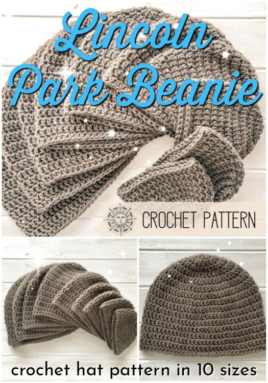 Lincoln Park Beanie crochet pattern in 10 sizes... super great deal to make this very beginner crochet winter hat pattern for everyone you know! #beginnercrochet #crochetpattern #hatpattern #crochethat #crochet #yarn #crafts #craftevangelist