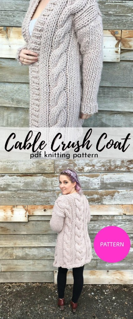 Beautiful cozy knitting pattern for this cable knit cardigan! Knit with super bulky We Are Knitters The Wool; The Cable Crush Coat from knitatude knits up quickly! #cardiganpatterns #cardigan #knitcardigan #knittingpattern #craftevangelist