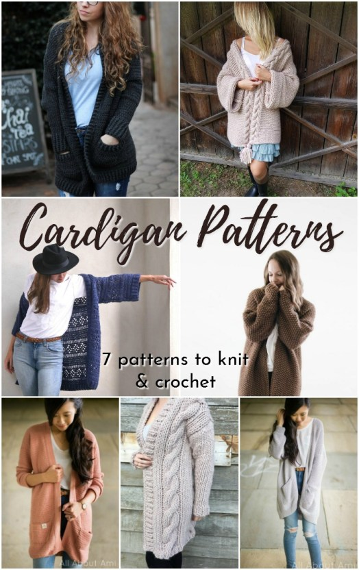 Pattern round up of knit and crochet long cardigans. I love these gorgeous fall sweaters! #cardiganpatterns #cardigan # crochetcardigan #knitcardigan #knittingpattern #crochetpattern #craftevangelist
