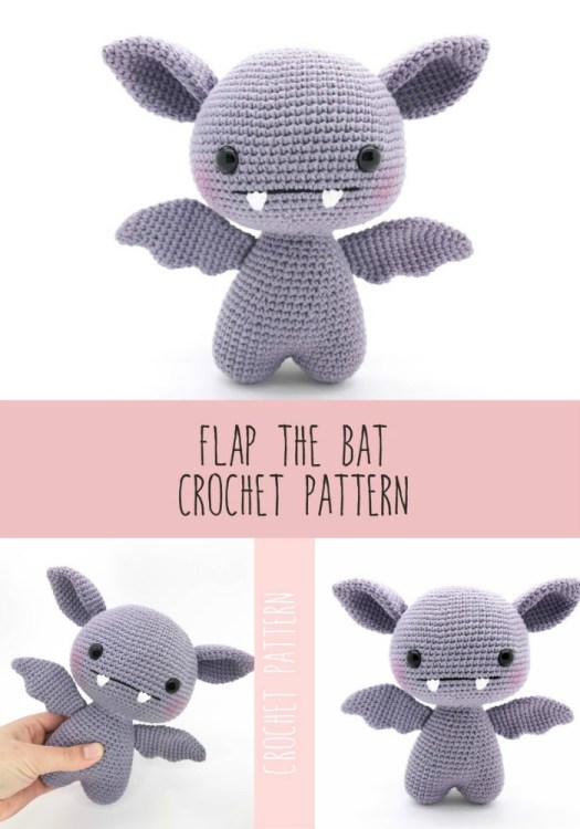 Cute little flap the bat amigurumi crochet pattern. Adorable little creepy bat to make for halloween! #crochetpattern #halloweencrochet #amigurumipattern #yarn #crafts #craftevangelist