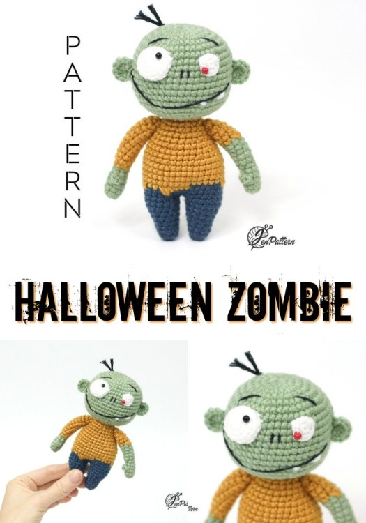 Fun and cute little zombie amigurumi crochet pattern! Perfect little toy to make for Halloween! #crochetpattern #zombies #halloweencrochet #amigurumipattern #yarn #crafts #craftevangelist