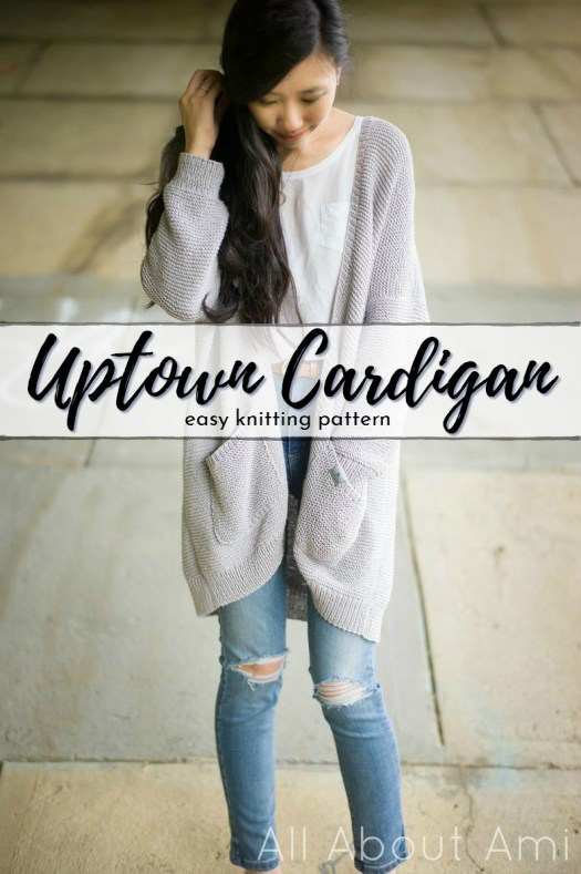 Beautiful drape on this knit cardigan with Lion Brand Coboo yarn! I love the Uptown Cardigan. These long slouchy cardigans are so great! #cardiganpatterns #cardigan #knitcardigan #knittingpattern #craftevangelist