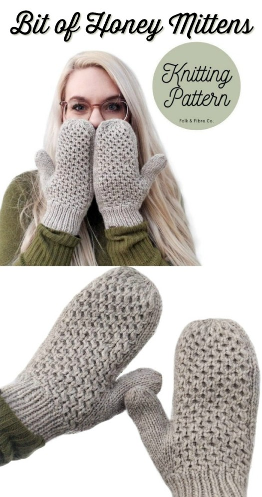 Bit of Honey Mittens, a cute honeycomb textured knitted mitten pattern. Such a gorgeous and simple mitten pattern! #knitmittens #mittenpattern #knittingpattern #mittenknitting #craftevangelist