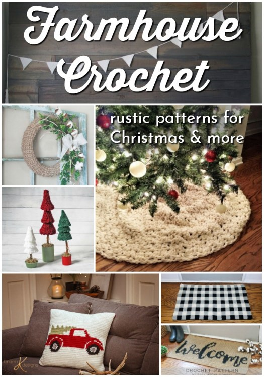Farmhouse Crochet Patterns. What a great selection of classic and rustic crochet patterns for Christmas farmhouse decor and some for all seasons! Love this homey rustic look! #crochetpatterns #christmascrochet #farmhousestylecrochet #farmhousestyle #crochetChristmas #craftevangelist