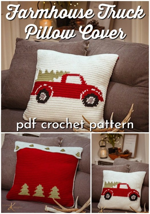 Farmhouse style truck with Christmas tree pillow cover crochet pattern. How much fun would this throw pillow pattern be for Christmas decor? Love this classic vintage look! #crochetpatterns #christmascrochet #farmhousestylecrochet #farmhousestyle #crochetChristmas #craftevangelist #rusticChristmas #classicChristmas #christmastree #christmastreetruck