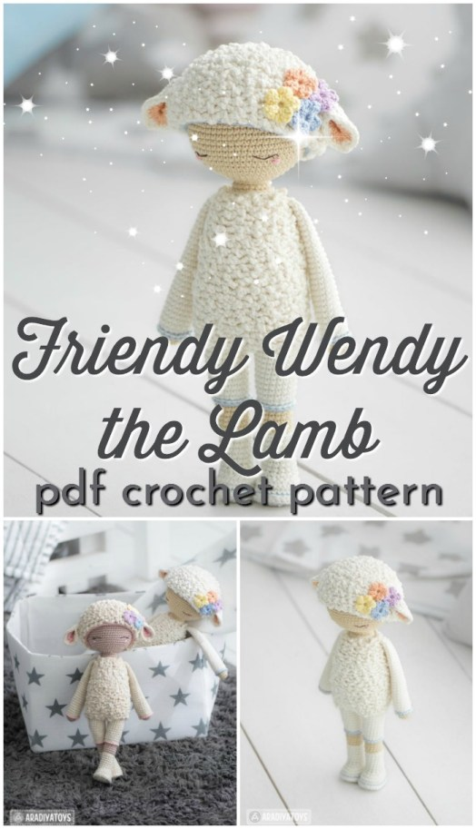 Sweet amigurumi crochet pattern for this adorable little lamb doll, Friendy Wendy the Lamb. So cute! Perfect handmade baby gift idea! #crochetpattern #amigurumipattern #crochettoy #handmadegift #handmadegiftideas #yarn #crafts #handmadeholidays #craftevangelist