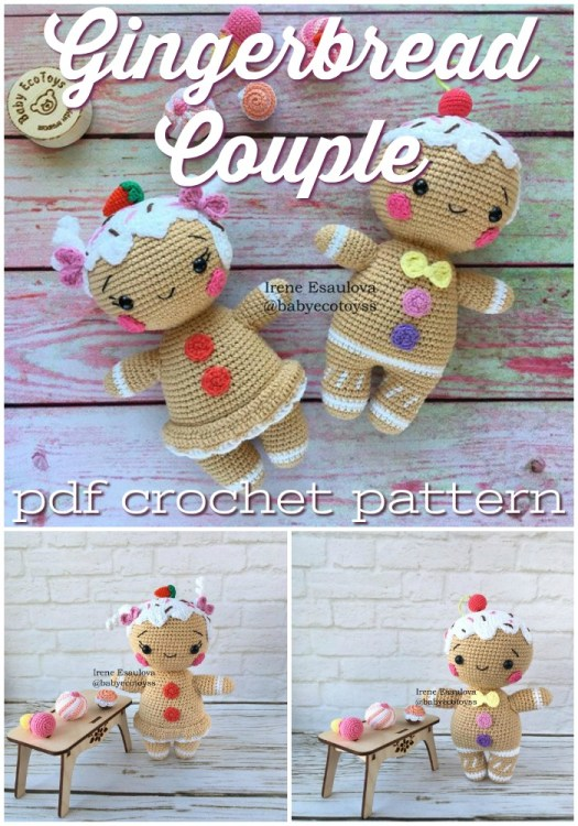 Sweet little Gingerbread Couple pdf crochet pattern to make these adorable handmade Christmas ornaments or little stuffed toys for kids! So cute with their little plum pudding tops! #crochetpattern #amigurumipattern #Christmascrochet #crochettoy #craftevangelist