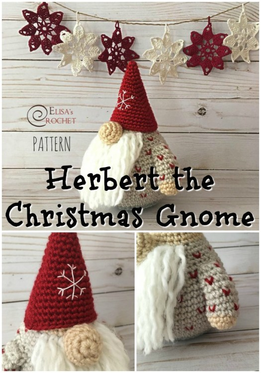 I LOVE GNOMES! Check out this adorable crocheted Christmas gnome amigurumi pattern! I love the little knit-look v details on his shirt and snowflake embroidered on his hat! Such a fun handmade Christmas gift idea! #amigurumipattern #Christmasamigurumi #crochetpattern #crochettoy #crochetgnome #Christmasgnome #craftevangelist