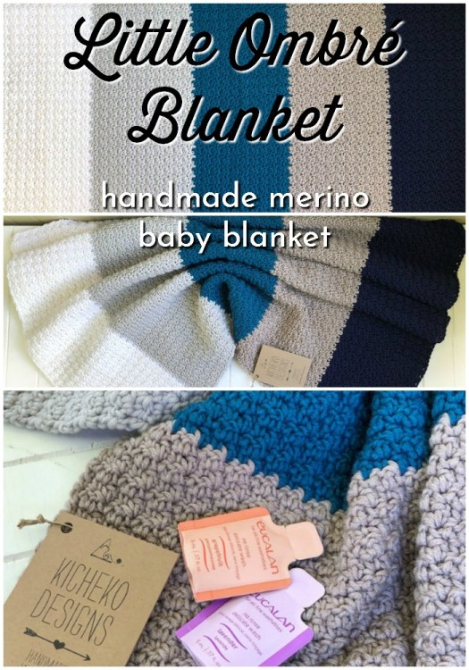 I love this classic, minimalist ombre baby blanket, with chunky stripes and a lovely textured super soft merino wool, this handmade in Canada blanket would make a lovely baby shower gift! #handmadegifts #babyblanket #merinowool #madeinCanada #crochetedblanket #handmadeblanket #craftevangelist