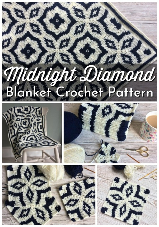 Midnight Diamond Blanket Crochet Pattern. I love this black and white tile-inspired blanket crochet pattern. It would fit well with Scandinavian-style decor and would make a lovely handmade gift! #crochetpattern #crochetblanket #crochetblanketpattern #yarn #crafts #craftevangelist