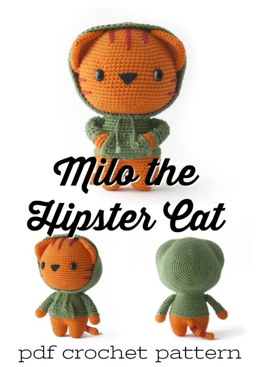 Milo the Hipster Cat amigurumi crochet pattern. How much fun is this adorable crocheted doll? He would make a great handmade gift idea for any kid! So cute! #crochetpattern #amigurumipattern #amigurumitoy #crochettoy #craftevangelist