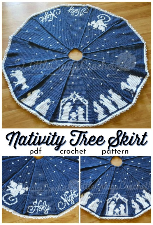 Beautiful two-color Nativity Tree skirt with a silhouette of the Nativity, worked in panels. This would make a stunning Christmas gift! #crochetchristmas #crochetpattern #crochetornament #crochetdecorations #christmascrochet #craftevangelist