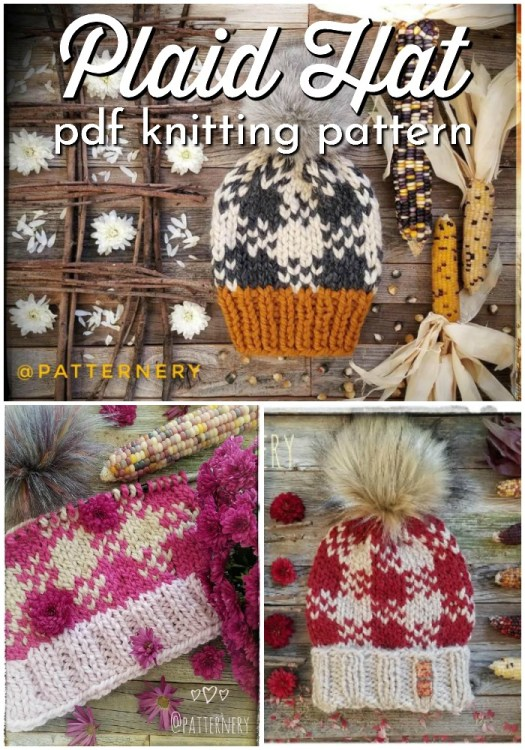 I love this cute knitted hat pattern! What a lovely colour work knitting pattern for buffalo plaid! So cute! and I'm still loving these big faux fur pompoms! #knittingpattern #knitbeanie #beaniepattern #knittoque #toqupattern #hatpattern #knithat #buffaloplaid #knitplaid #colorwork #craftevangelist