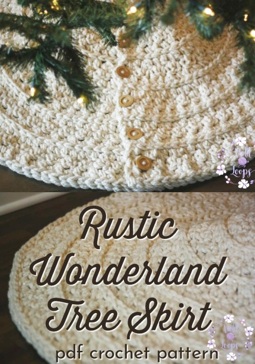 Rustic Wonderland Tree Skirt crochet pattern. Perfect to make for a farmhouse decor Christmas gift. Chunky yarn works up quickly for a beautiful, rustic handmade Christmas tree skirt! #crochetchristmas #crochetpattern #crochetornament #crochetdecorations #christmascrochet #craftevangelist