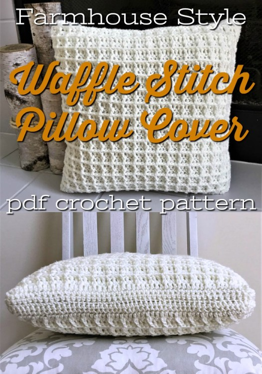 Beautiful crochet pillow cover with this gorgeous waffle stitch pattern makes for a rustic and timeless textured pillow. This would make great year-round coziness in your living room. Or a perfect handmade housewarming gift! #crochetpatterns #christmascrochet #farmhousestylecrochet #farmhousestyle #crochetChristmas #craftevangelist #crochetpillow #crochetthrowpillow #crochettexture