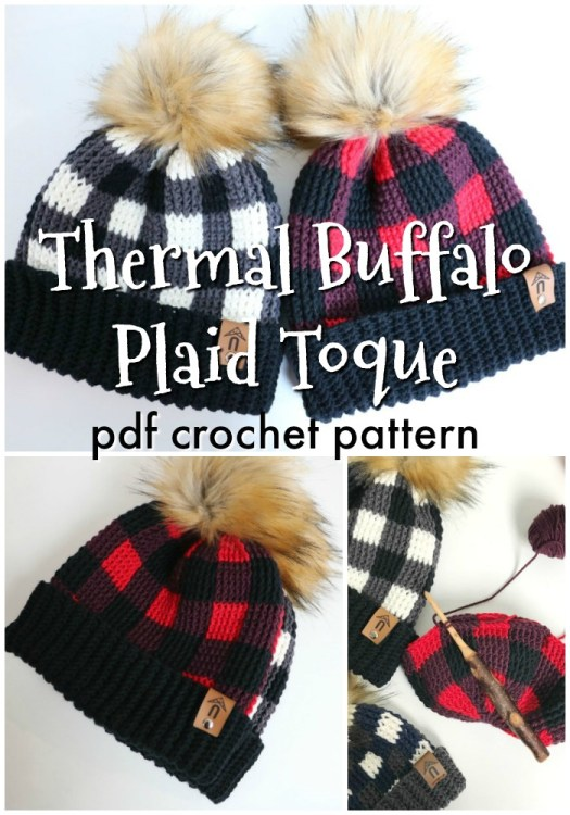 Thermal buffalo plaid crochet hat pattern. I love this adorable toque crochet pattern with a giant faux fur pompom! So classic! Perfect handmade beanie pattern for the holiday season! I love this stitch, too, it's so textured and warm looking! #crochetpattern #crochethatpattern #crochetbeaniepattern #beaniepattern #crochettoque #toquepattern #crochetplaid #craftevangelist