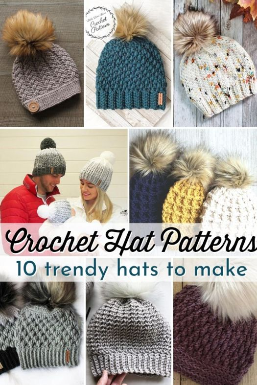 Super cute collection of gorgeous textured crochet hat patterns to make! Most of these are beginner level crochet beanies! Super easy patterns! Quick handmade gift ideas! #crochetpatterns #crochethats #crochetbeaniepattern #craftevangelist