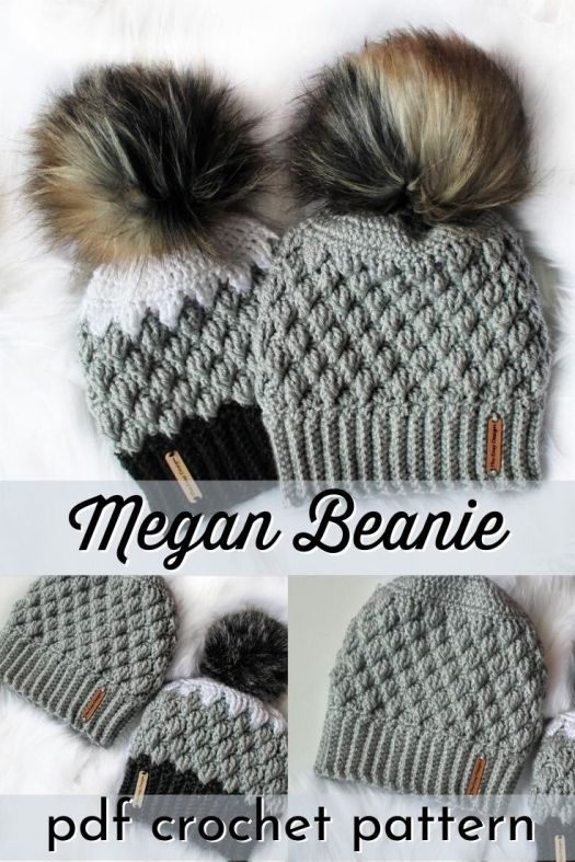 The Megan Beanie is a gorgeous everyday hat with fun texture. You can make it in one color or color-blocked. If you have trouble with gauge, this hat is right for you, as it uses measurements instead of gauge! Make it in any weight yarn you like! #crochetpattern #crochethatpattern #crochetbeaniepattern #crochetbeanie #beaniepattern #craftevangelist