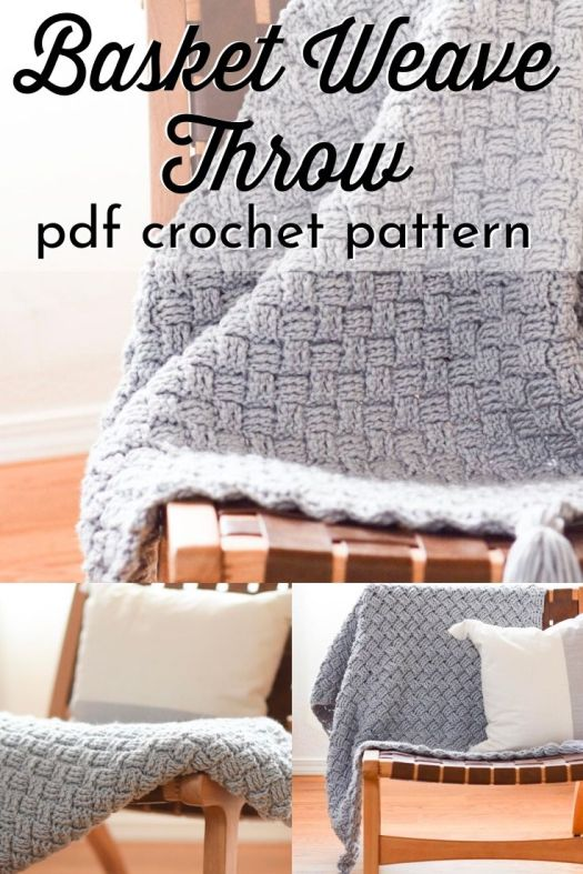 Beautiful texture on this basket weave throw crochet pattern. Makes a perfect baby blanket or throw blanket for the living room couch! #crochetblanketpattern #crochetpattern #crochetthrowpattern #crochetafghanpattern #crochetbabyblanket #craftevangelist