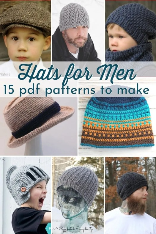 15 Hat Patterns to make for men. Mostly crochet hat patterns for men. From easy to slightly more advanced patterns; there are plenty of crochet hats to make for men. Beanies and more! #crochetpattern #crochetformen #crochethatpatterns #menshatpatterns #crochetbeaniepatterns #hatpatterns #diyhats #craftevangelist