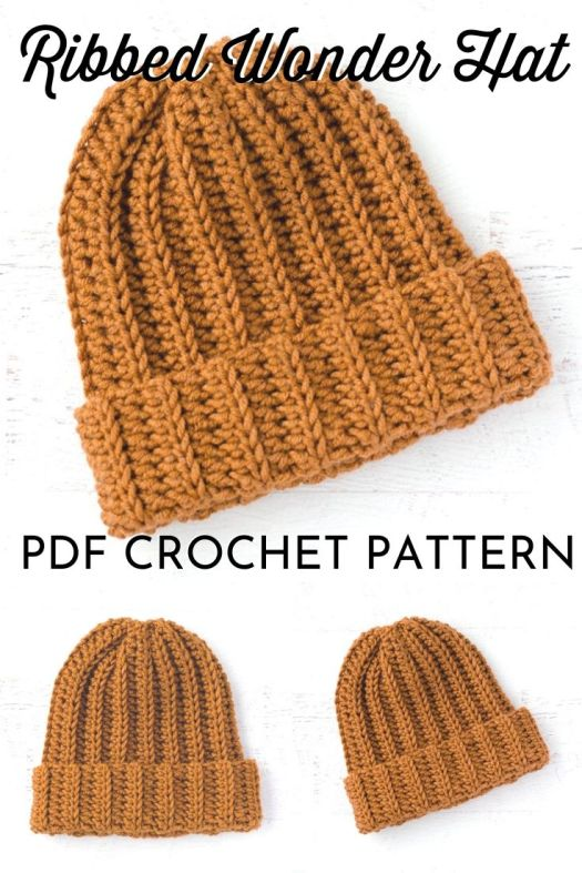Ribbed Wonder Crochet Hat Pattern, perfect crochet beanie pattern for men! Love this simple ribbed knit-look crochet toque pattern! #crochethatpattern #crochetpattern #crochetbeaniepattern #beaniepattern #craftevangelist