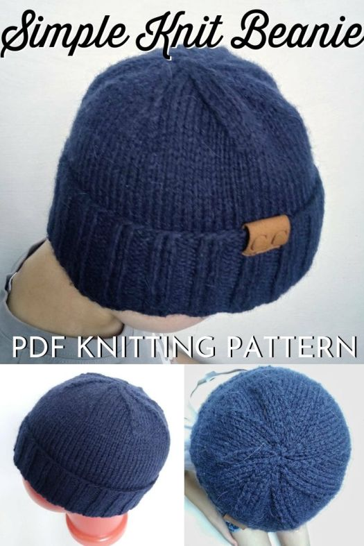 Super simple streamlined knit beanie pattern. Lovely simple men's toque pattern to knit. Excellent instructions for decreasing with a flat top. My husband would love this knit hat! #knittingpattern #knithatpattern #simpleknits #knittingformen #craftevangelist