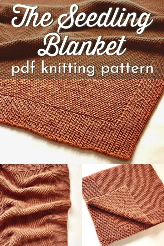 The Seedling Blanket pdf knitting pattern. Lovely knit blanket pattern in seed stitch. Perfect easy knitting pattern for a beginner knitter. Lovely subtle texture and simple reversible blanket makes a beautiful baby blanket or stylish throw afghan for the living room. #knittingpattern #knitblanketpattern #knitthrowpattern #knitafghanpattern #knitbabyblanket #craftevangelist