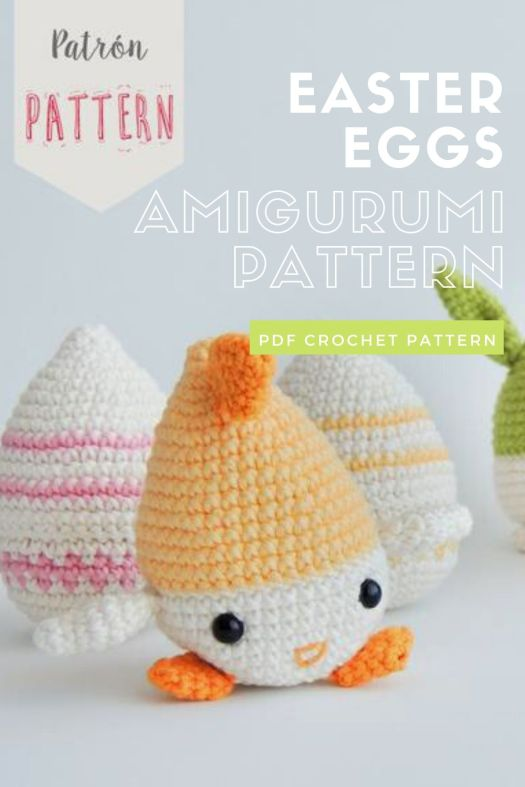 Super cute Easter Eggs bunnies and chicks amigurumi crochet pattern. Love this quick and easy pattern for Easter. #crochetpattern #eastercrochet #springcrochet #amigurumipattern