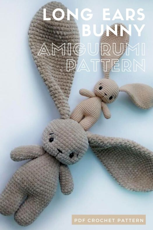Adorable long ears Easter bunny amigurumi crochet pattern. One of these would just make the most adorable spring baby gift! #crochetpattern #eastercrochet #springcrochet #amigurumipattern