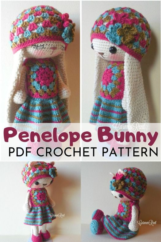 Penelope Bunny and a cute little granny square dress and hat. Two adorable pdf crochet patterns to make this cute bunny or bear and a sweet little outfit. Love Carmen Rent's patterns. #amigurumipattern #crochetpattern #patternroundup #crochettoypatterns #handmadetoys #diytoys #craftevangelist