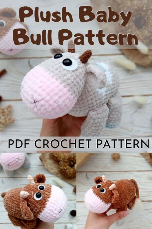 Sweet little plush baby bull cow amigurumi pattern. An adorable and unique handmade toy gift idea! Such a fun crochet pattern! Love the use of the soft plush velour yarn. Really fills in the holes and makes this toy so squishy! #amigurumipattern #crochetpattern #diytoys #handmadetoys #crochettoypattern #craftevangelist