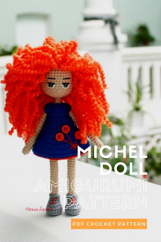 Adorable red-haired amigurumi doll crochet pattern. Also available ready-made. What a fun doll pattern! #crochetpattern #amigurumi #amigurumidoll #crochetdollpattern #craftevangelist