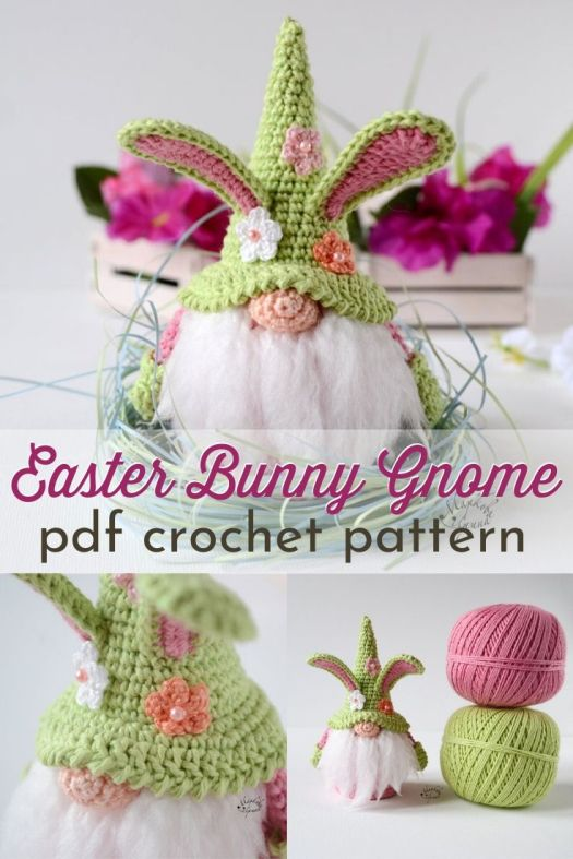 Adorable Easter Bunny Gnome crochet pattern! Sooooooo cute! I need to make one of these sweet gnomes, even if Easter has passed! #eastergnome #easterbunny #crocheteaster #springcrochet #amigurumi #amigurumipattern #crochetpattern #craftevangelist