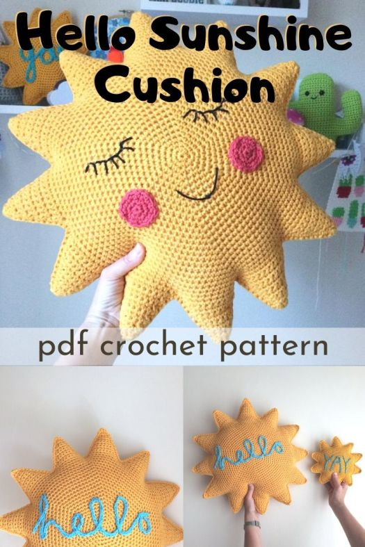Adorable sunshine cushion! How cheery is this for a kids room? Love this crocheted throw pillow pattern! So fun! #crochetpattern #amigurumipattern #crochetthrowcushion #crochetpillow #pillowpattern #craftevangelist