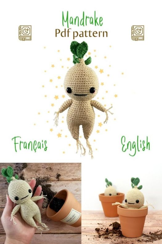 Adorable Harry Potter Inspired Mandrake Crochet Pattern. I love this sweet little mandrake amigurumi! I can't wait to make him! #crochetpattern #crochetamigurumi #amigurumipattern #mandrakepattern #harrypotterpatterns #harrypottercrochet #craftevangelist