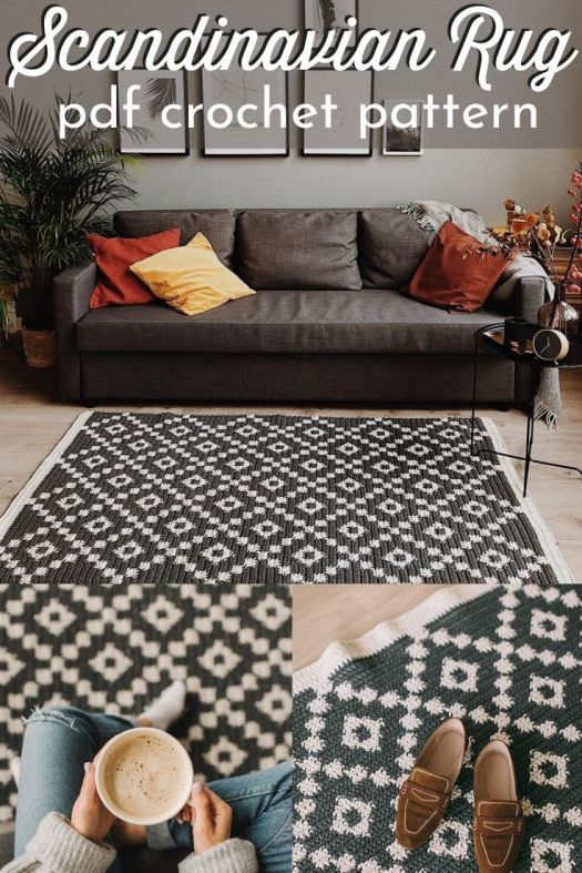 SO CUTE! I love this Scandinavian Rug crochet pattern! What a fun idea! I can't wait to make one of these for my family room! So fantastic! #crochetpattern #crochetrugpattern #crochetcarpet #scandinaviandesign #diyscandinavianrug #craftevangelist